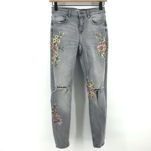 🌿 Zara Gray Skinny Jeans with Floral Details